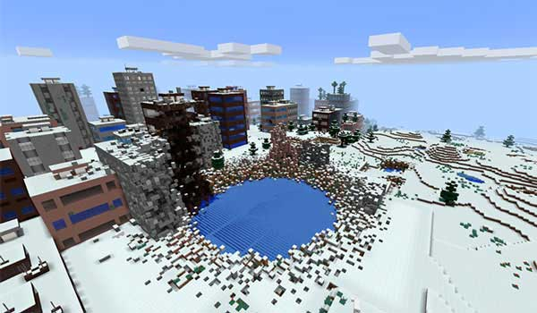 Image where we can see an example of one of the cities that will be generated when installing the The Lost Cities Mod.