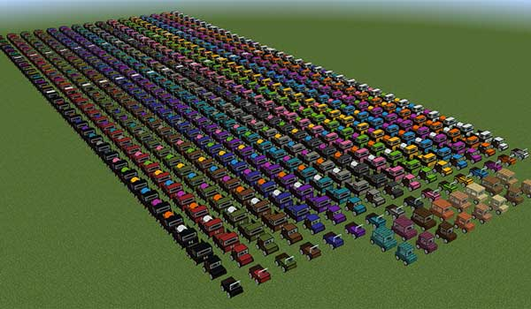 Image where we can see the incredible amount of car variants that we can build, and use, with the Ultimate Car Mod.