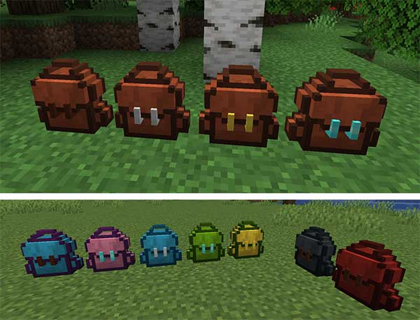 Image where we can see the backpacks that will allow us to make the Sophisticated Backpacks Mod.
