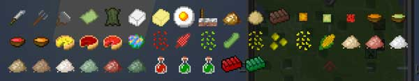 Image where we can see an exposition of the new foods and objects that we can use when installing The Veggie Way Mod.